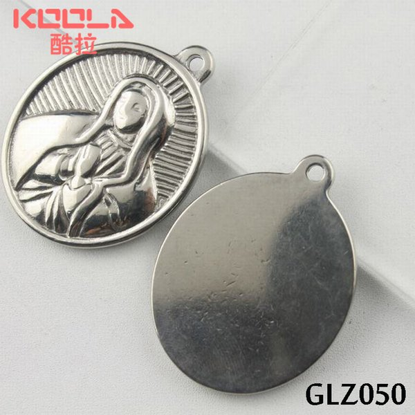 KUNAFIR NEW single face Stainless steel religion pendants lover's gift round shaped The Blessed Virgin Mary GLZ050