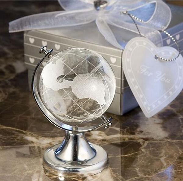 100sets/lot, MagicBox World Globe Crystal Glass Clear Paperweight Desk Decor Wedding Favor