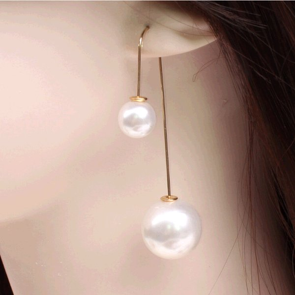 Wholesale-New Hot Fashion Fine Jewelry Summer Style Double Pearl U-shaped 19 Colors Gold plated Tassel Long Stud Earrings For Women E-412