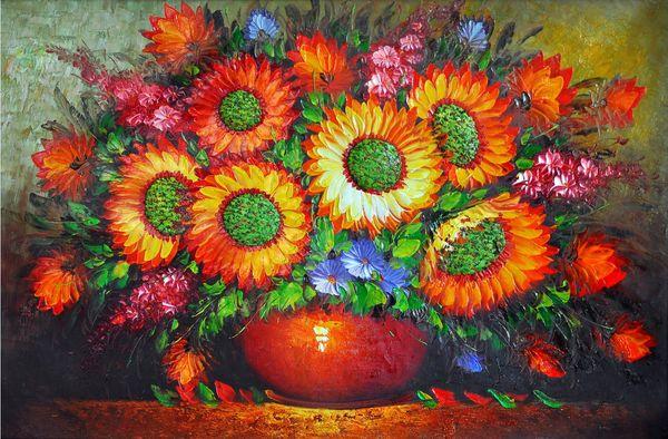 Benutzerdefinierte große Wandbilder Stofftapete 3d Tapeten Wohnzimmer Schlafzimmer TV Sofa Hintergrund 3D73 Abstrakte Kunst Ölgemälde Vintage Blumen