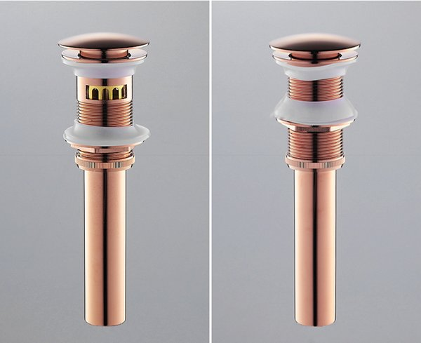 Deodorization Push Down Pop-Up Overflow/Non-overflow Drains with Basket Embeded ,Rose Gold Bathroom Basin/ Sink Faucets Accessories