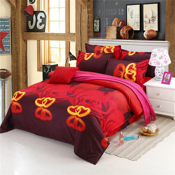 2016 new style luxurious 3d oil painting bedding sets cheap bed sheet / quilt cover bedclothes set free shipping