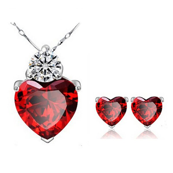 best selling 18K White Gold Plated Red Ruby Heart Chain Necklace Stud Earrings Fashion Jewelry Sets for Women
