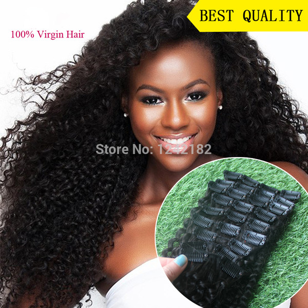 Hot Sale Brazilian Afro Natural Black Hair kinky Curly Virgin Hair Clip Ins 9pcs African American Clip in Human Hair Extensions