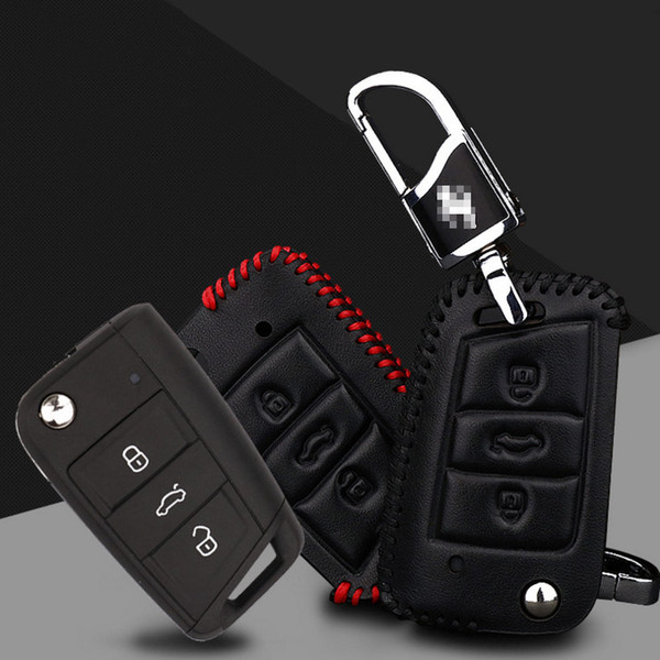Car-styling Premium Leather Remote Key Holder Fob Case Cover For VOLKSWAGEN Golf 7/Tiguan/Pasate/Sagitar