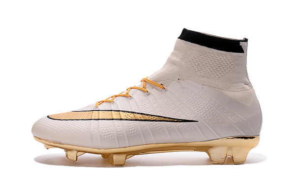 888d7063cef 2019 2016 Hot Sale 100% Original Mercurial Superfly White Golden FG Football  Boots Soccer Shoes Assassin High Outdoor Soccer Cleats Soccer Boots From ...