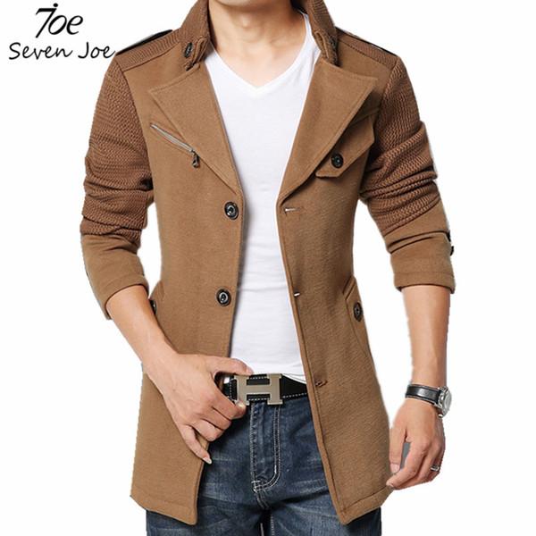 Outono-Sete Joe. New Fashion Men Trench Coat Jaqueta de Inverno Quente Outerwear Homens Casuais Jaqueta Com Tamanho Grande Men Sobretudo