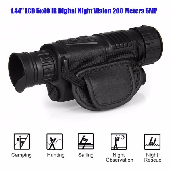 "1.44"" LCD 5x40 Infrared IR Digital Night Vision Monocular Scope 200 Meters Zoom 5X 5MP Digital Camera video Photo 29-0003"