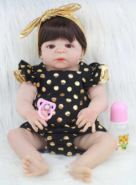 Küpe Kız Brinquedos batırın Oyuncak Aksesuarları ile 55cm Tam Silikon Vücut Reborn Baby Doll Oyuncak Gerçekçi Yenidoğan Prenses Bebekler Bebek