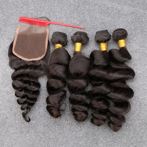Capelli vergini peruviani con i pacchi di capelli della chiusura con il brasiliano DHL 7A capelli umani vergini con la chiusura dell'onda sciolta peruviana con Clos