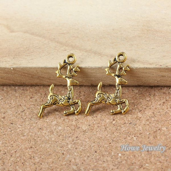 75pcs Vintage Charms deer Pendant Antique gold plated Fit Bracelets Necklace DIY Metal Jewelry Making R004