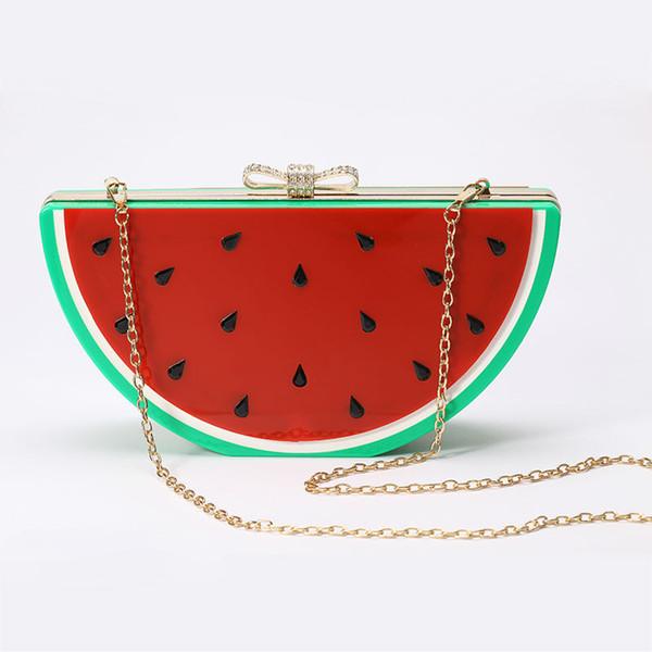 best selling Designed Watermelon Shape Acrylic Lemon Evening Bags Plastic Clutch Party Fruit Crystal Bow Handbag Diamond Women Messenger Purse - A007