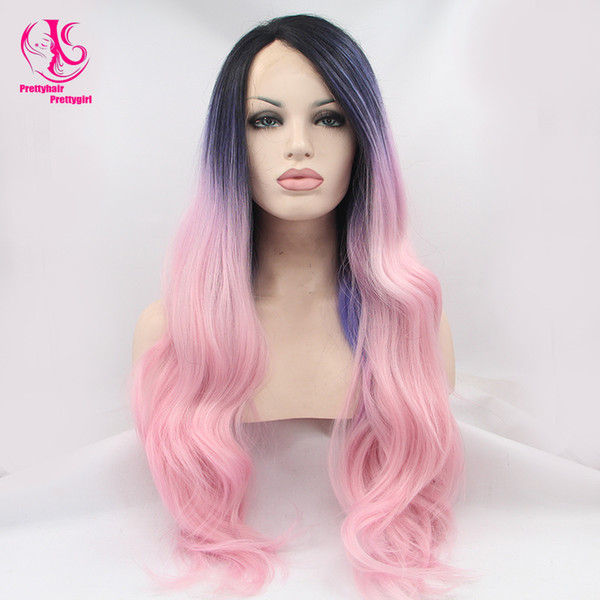 Beauty Pink wig synthetic lace front wig Ombre Black Purple Pink lace front wigs synthetic hair 10''---28'' body wave Heat Resistant Wavy