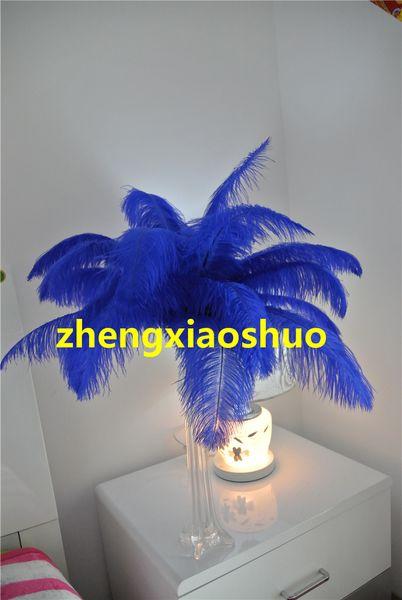 wholesale 100 pcs 12-14inch royal blue Ostrich Feather Plume for Table Decoration wedding centerpieces decor party event centerpiece supply