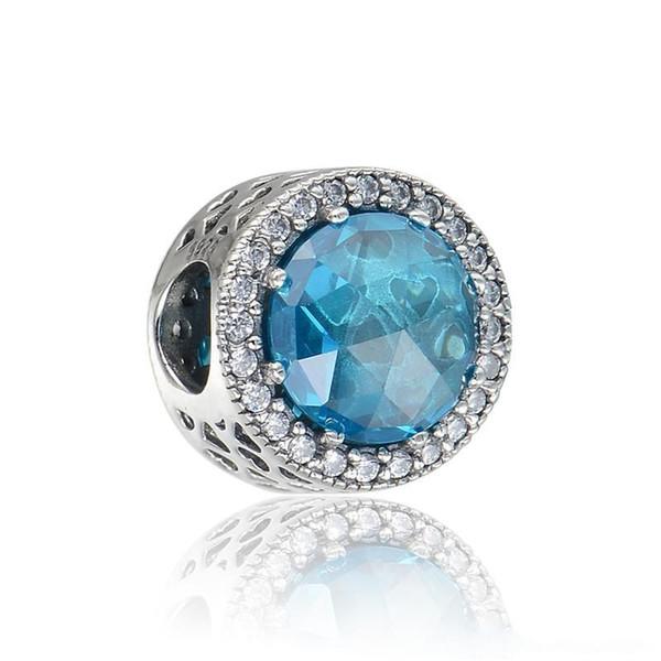 Blaue leuchtende Herzen Charms S925 Sterling Silber passt für Pandora Style Charms Armbänder versandkostenfrei aleLW619CH9