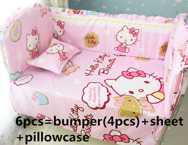 Promotion! 6PCS Hello Kitty Bedding Set Handmade Baby Girl And Boy Crib Bedding Sets Baby Crib Set (bumpers+sheet+pillow cover)