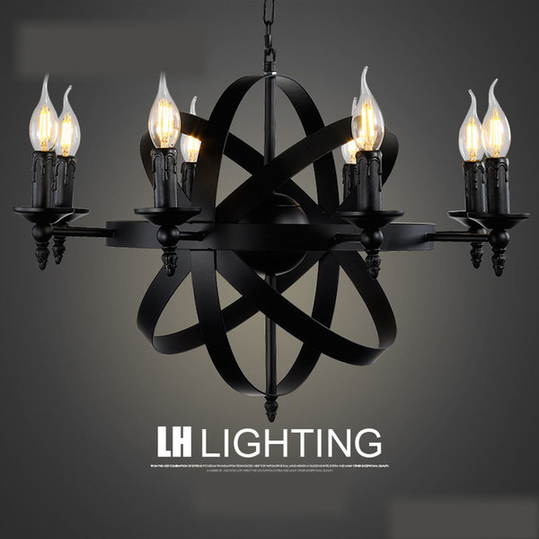 American style nostalgic retro industrial pendant lamp living room bar creative iron candle light restaurant art iron chandelier