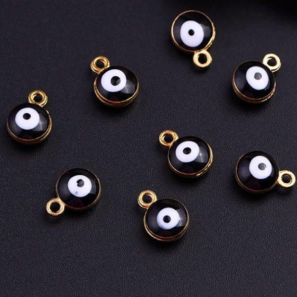 Wholesale 50pcs Zinc Alloy Gold Tone Black Evil Eye Protection Round Bead Charm For Jewelry Making DIY Free Shipping