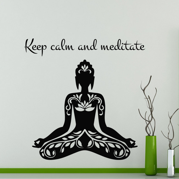 Keep Calm And Meditate Quote Yoga Lotus Pose Wall Sticker Vinyl Art Removable Home Decor For Living Room