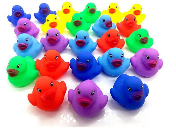 top popular 12pcs Rubber duck Mixed Animals Swimming Water Toys Colorful Float Squeeze Sound Squeaky Bathing Toy For Baby Bath Toys 2021