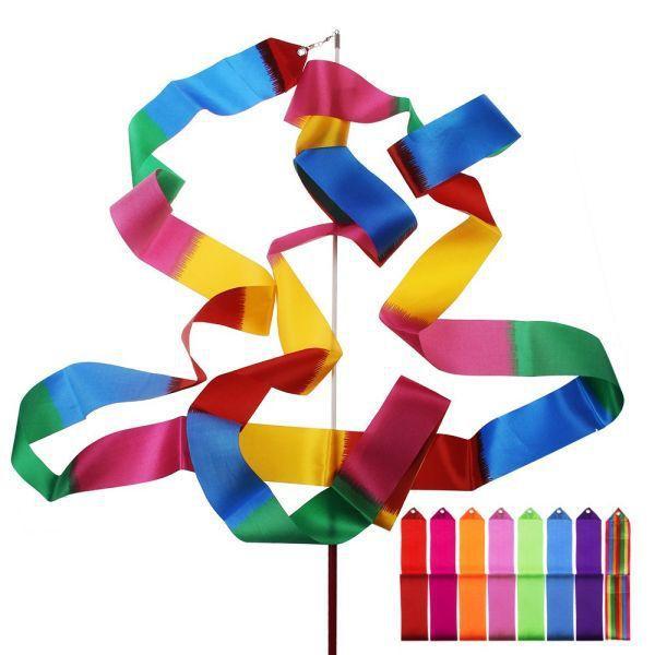 New 4M Gymnastics Colored Ribbon Gym Rhythmic Art Ballet Dance Ribbon Streamer Twirling Rod Stick Multi Colors Free Shipping