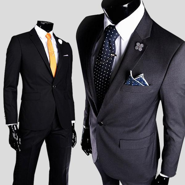 The New explosion models new men's casual men's suits high-quality cotton men a button after the slits straight skirt suit Slim Va