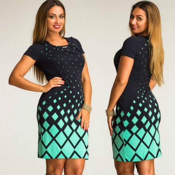 Fashionable Women dresses Summer dress big size NEW 2016 plus size Women Clothing Casual o-neck Plaid office bodycon Dress L-XL XXXL 5XL 6XL