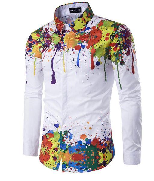 Stampa 3D camicia uomo spalla e orlo parte dell'inchiostro stampato disegno pulsante Button manica lunga abbassa collo collare Slim Fit per Camicie uomo libera la nave
