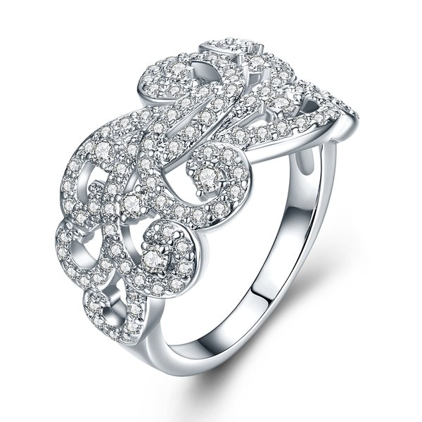 MDEAN White Gold Color AAA Zircon Rings For Women Irregular Fancy Pattern Wedding Fashion Jewelry Bague MSR832