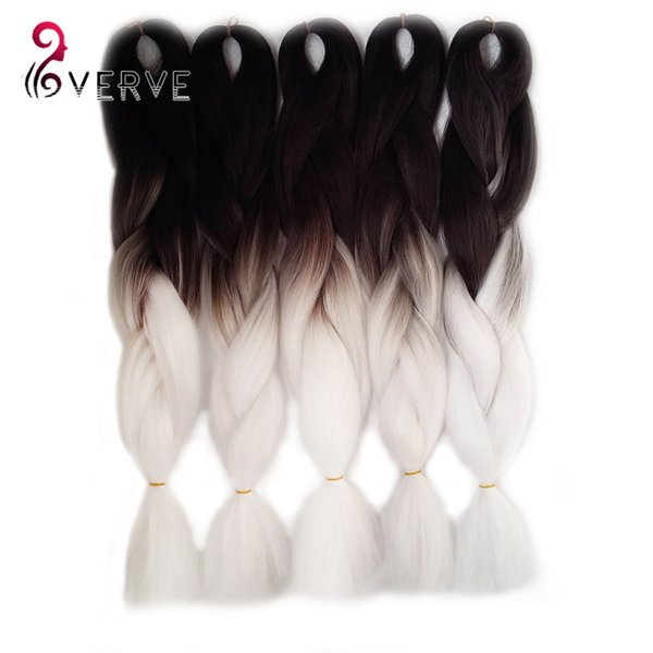 1Pcs Ombre Kanekalon Jumbo Synthetic Braiding hair 24inch 100g Black&white two Tone colors jumbo Braids Hair Extensions