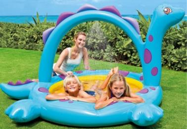 Water Spray Inflatable Swimming Pool Dinosaur Paddling Pool Baby Sandpit Sea Pool for Summer Outdoor Play
