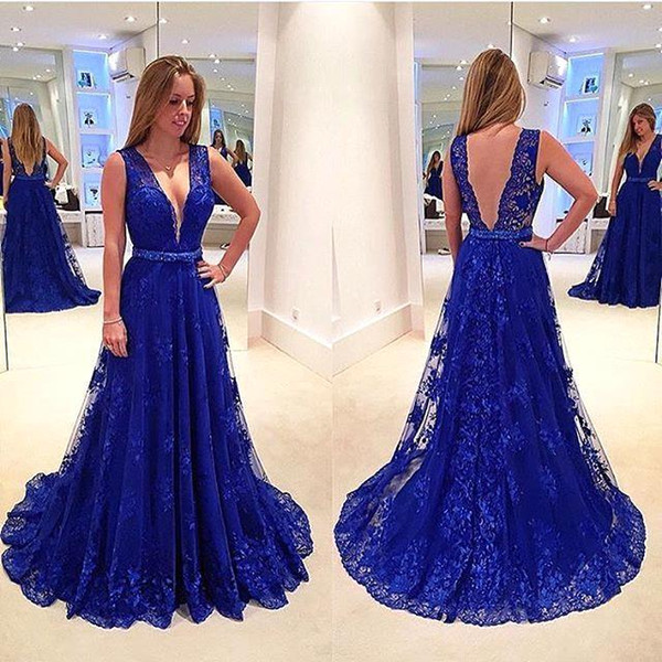 2016 Cheap Prom Dresses V Neck Roayl Blue Lace Sheer Open Back Sweep Train Plus Size Sashes Bow Formal Party Dress Evening Gowns