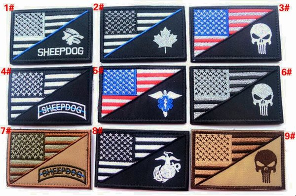 best selling VP-86 3*2 inch 3D Embroidered patches Punisher US flag sheepdog Marines Tactical Isaf Attack Badge patches outdoor badges