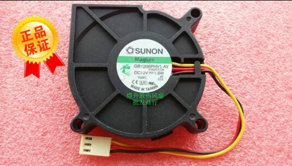 best selling Original SUNON 6015 DC12V 1.6W 6CM GB1206PHV1-AY 3 line turbo blower fan