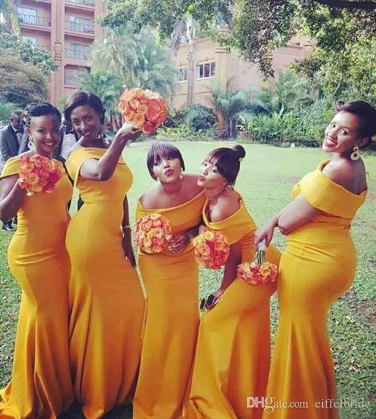African Daffodil Chiffon Off Shoulder Mermaid Bridesmaid Dresses Long Modest Wedding Party Guest Dress Custom Made