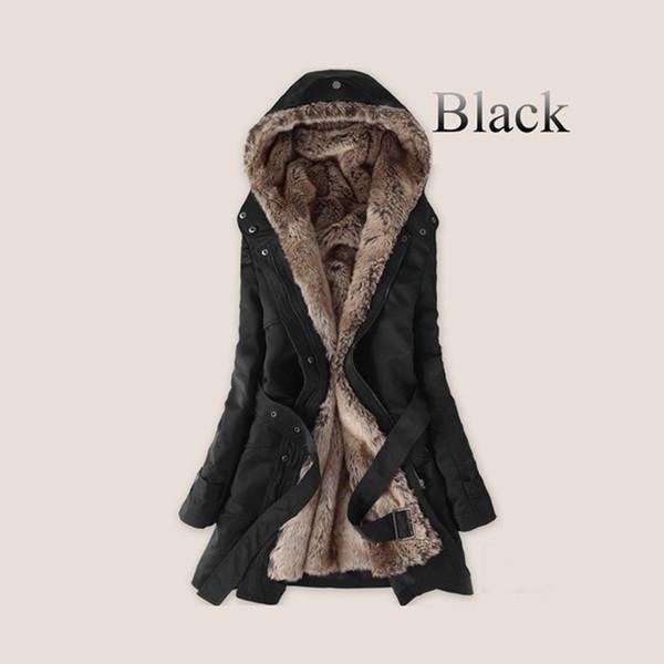 Parkas Futter Hoodies Jacke Thick Fell Fell Kleidung Baumwolle Mantel Thermische AA1607 Faux Lange Frauen Großhandel Wholesale Warme Innen Pelz Winter 54j3LAR
