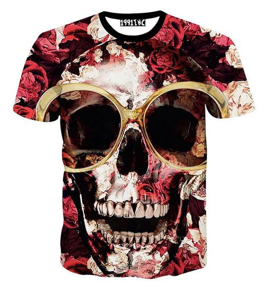 2018 Men's 3d T-Shirt Big Flowers Glasses Skull Printed T shirt for men harajuku summer Short Sleeve Tee Shirts clothing tops