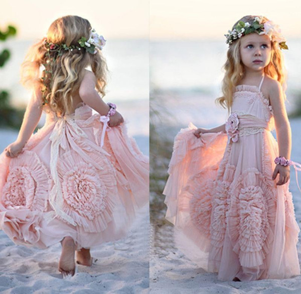 top popular Pink Halter Little Girls Party Dresses 2016 Chiffon Ruffles Flower Girl Dresses For Beach Wedding Floor Length Pageant Gowns With Flowers 2019