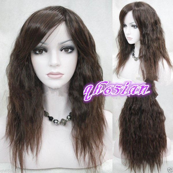 100%Free shipping New High Quality Fashion Picture Indian Mongolian wigs>>Fashion ladies wig Medium Long ladies Dark Brown Natural Hair wigs