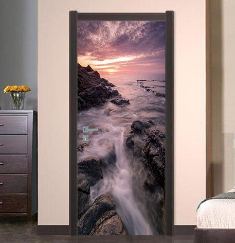 Free shipping Coast Sunset Door Wall Stickers DIY Mural Bedroom Home Decor Poster PVC Waterproof Door Sticker 77x200cm
