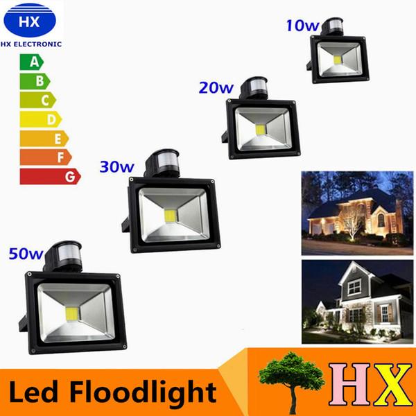 Promo 10W 20W 30W 50W 100W PIR LED Flutlicht mit Bewegungssensor Scheinwerfer Wasserdichte LED Flutlichtlampe im Freien Warm Kalt Weiß AC85-265V