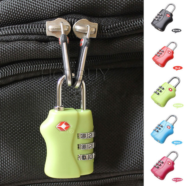 Rubber TSA 3 Digit Dial Combination Travel Luggage Lock Padlock Travel Suitcase Security Resetable 5 Colors #4076
