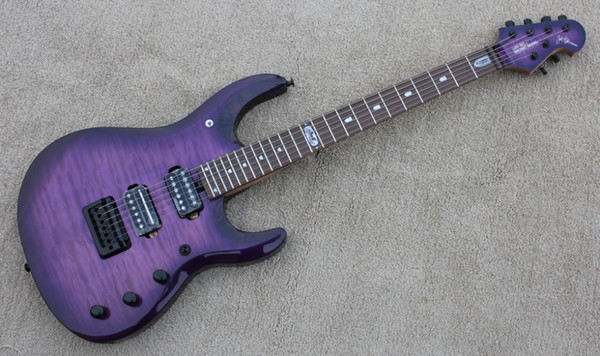 Custom JPX 24 Frets Music Man Ernie Ball JohnPetrucci Purple Flame Maple Top Electric Guitar Locking Tremolo Bridge Black Hardware