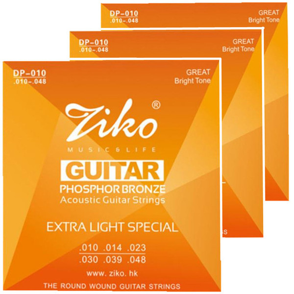 3sets/lot 010-048 ZIKO Acoustic guitar strings musical instruments Accessories PHOSPHOR BRONZE Strings guitar parts wholesale