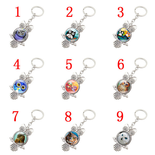 Free shipping Retro Owl Time Gemstone Metal Keychain Hot Keychain R149 Arts and Crafts mix order