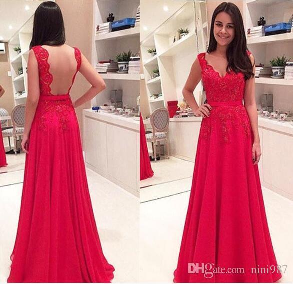2016 Beautiful Charming Backless Evening Dresses V-Neck Applique Lace Floor Length Fuchsia Lace Elegant Formal Party Prom gowns Cheap sale