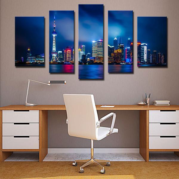 Acheter 5 Combinaison De Peinture Murale Art Peinture Shanghai Bâtiment De Grande Hauteur Bâtiment Belle Nuit Scène Peintures Impressions Sur Toile