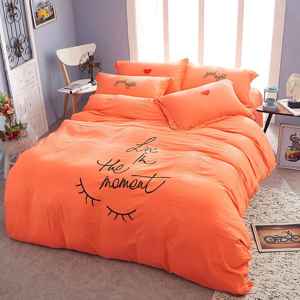 4Pcs/Set 6 Colors Miss Eyelash Embroidery Washed Cotton Bedding Sheets  Comforter Duvet Cover Sheet