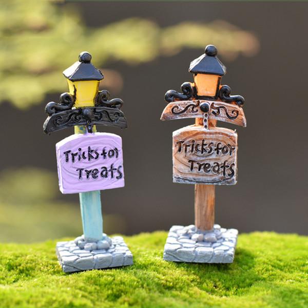 2pcs Vintage Street Light Signpost DIY Resin Crafts Small Forest Fairy Garden Miniatures Bonsai Tools terrarium Zakka Home Decor Accessories