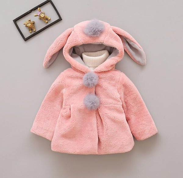 Girl Coat Cute Rabbit Ear Hoodies Winter Warm Kids Jacket Outerwear Children Clothing Baby Tops 2 Colors